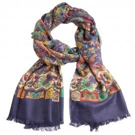 Dark blue paisley scarf