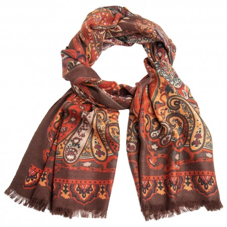 Paisley scarf in orange and red shades