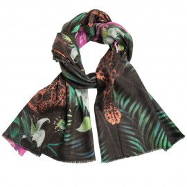Cashmere shawl with jungle and leopard pattern
