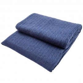 Dark blue blanket in pure cashmere