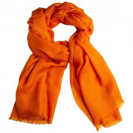 Orange jacquard pashmina stole