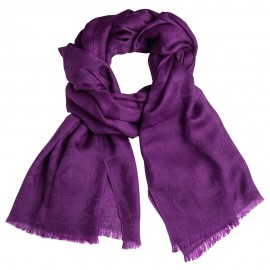 Dark purple jacquard pashmina stole