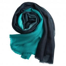 Dip-dye shawl in navy/turquoise