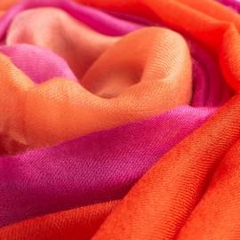 Dip-dye shawl in fuchsia/coral