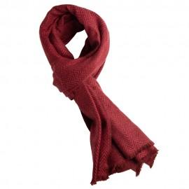 Red herringbone scarf in cashmere and wool