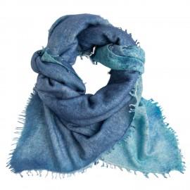 Blue square cashmere scarf