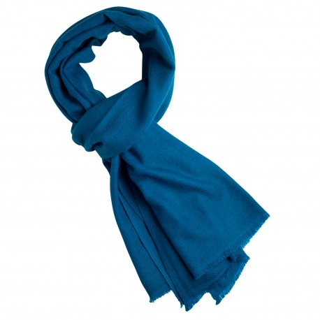Steel blue cashmere scarf in twill weave