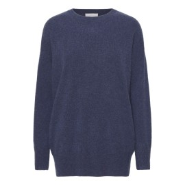Oversized cashmere sweater in indigo