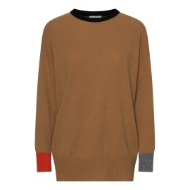 Camel-colored sweater with details in black, gray and orange