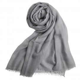 Light grey giant shawl in cashmere 200 x 140 cm