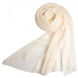 White giant shawl in cashmere 200 x 140 cm