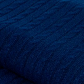 Navy blue cable knit cashmere blanket
