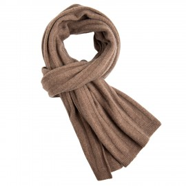 Taupe grey knitted cashmere scarf