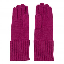 Knitted cashmere gloves in plum colour