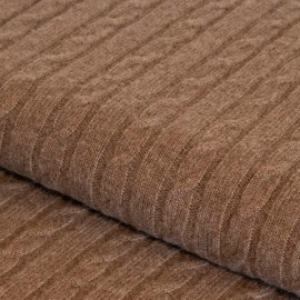 Taupe grey cashmere blanket in cable knit