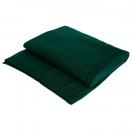 Bottle green cashmere blanket in cable knit