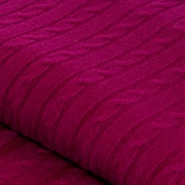 Plum coloured cashmere blanket in cable knit