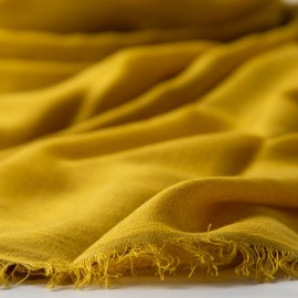 Extra large cashmere / silk shawl in curry yellow