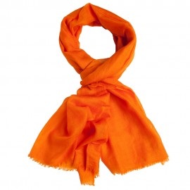 Orange pashmina stole in basket weave