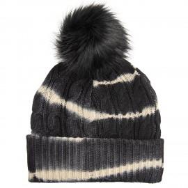 Knitted hat in black/white tie-dye