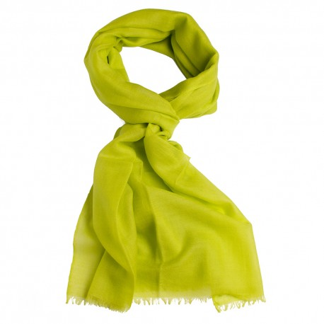 Lime green pashmina stole in basket weave