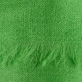 Vibrant green pashmina stole in basket weave