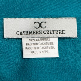Petrol blue pashmina stole in basket weave