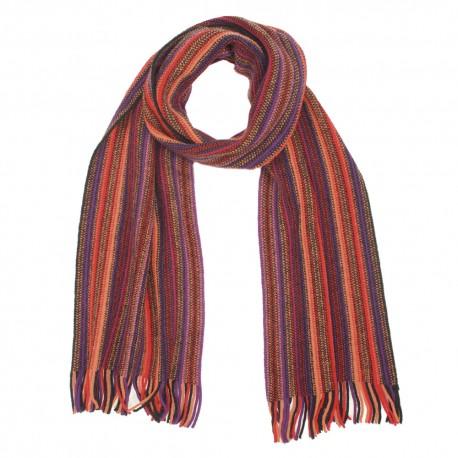 Red striped multi coloured scarf