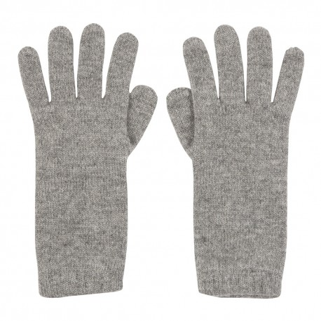 Grey knitted cashmere gloves
