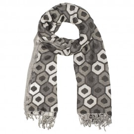 Grey scarf with beehive pattern