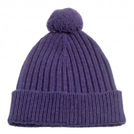 Violet knitted hat in pure cashmere