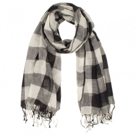 Checkered black and white wool scarf