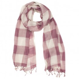 Checkered pink and white wool scarf