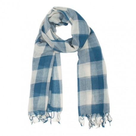 Checkered blue and white wool scarf