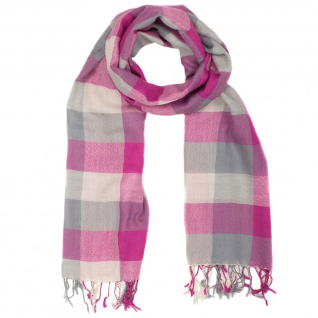 Checkered pink and grey wool scarf