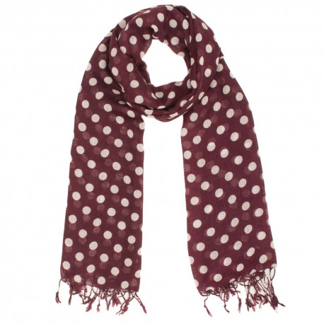 Burgundy scarf with beige dots