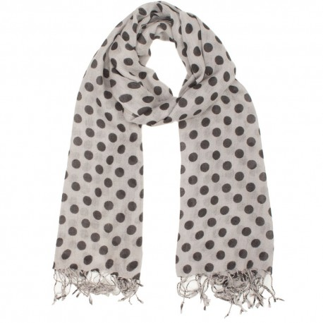 Light grey scarf with black dots