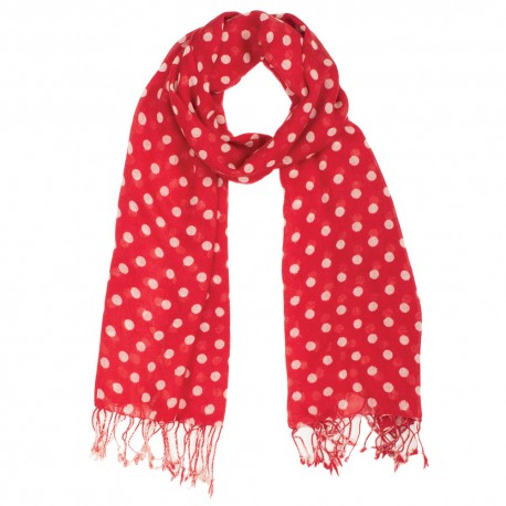 Red scarf with white dots