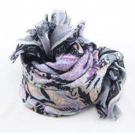 Grey and violet model/cashmere stole