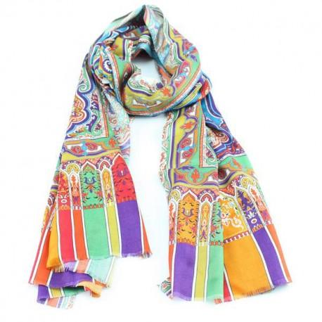Orange and blue silk shawl