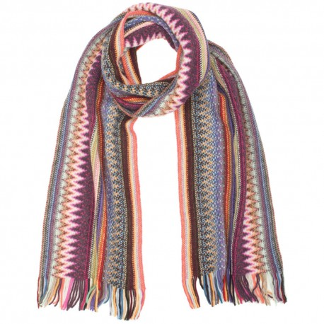 Striped scarf in red and blue shades