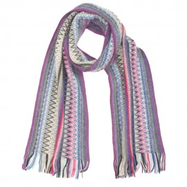 Striped scarf in violet and blue shades
