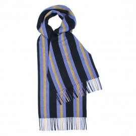 Violet and black striped scarf in lambswool
