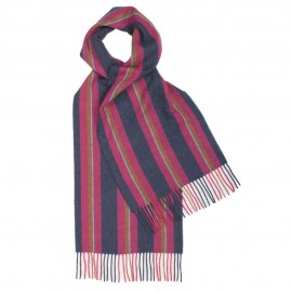 Purple and blue striped scarf in lambswool