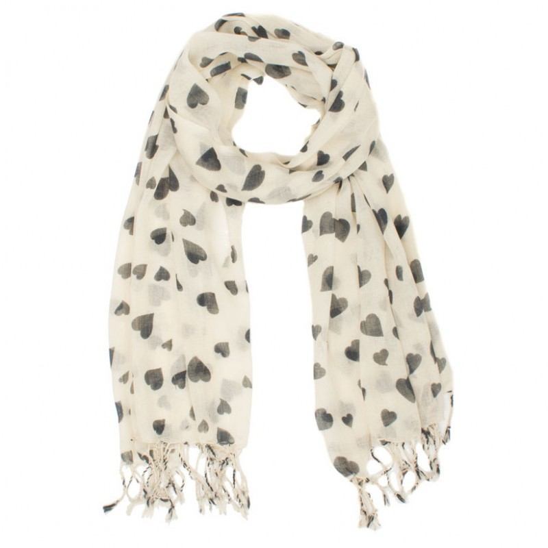 coloured scarf with printed hearts