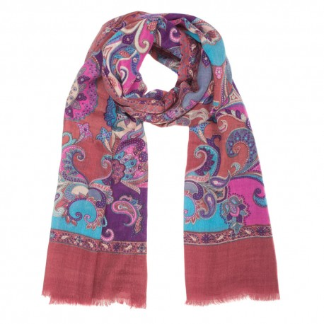 Chestnut printed scarf in wool and silk