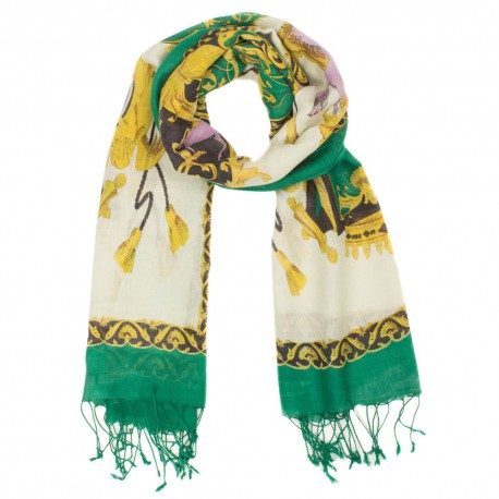 Green printed scarf in silk and wool