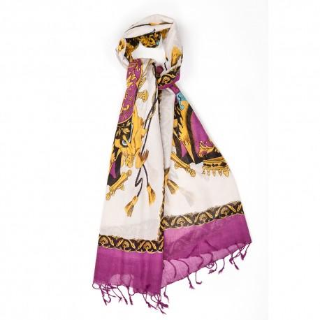 Purple printed scarf in silk and wool