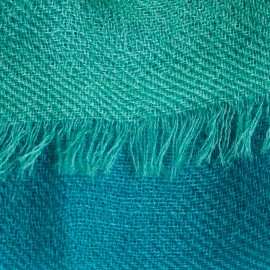 Three coloured cashmere shawl in azure, white and ocean green