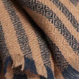 Striped cashmere scarf in caramel and navy